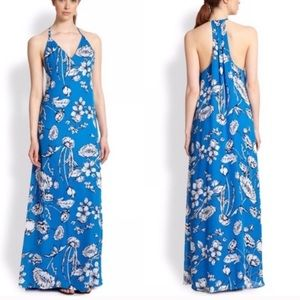Alice + Olivia Blue Floral Print Maxi Dress